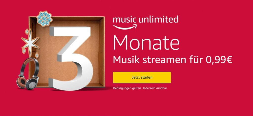 3 Monate Amazon Music Unlimited für einmalig 0,99 EUR - Bild 1646x752